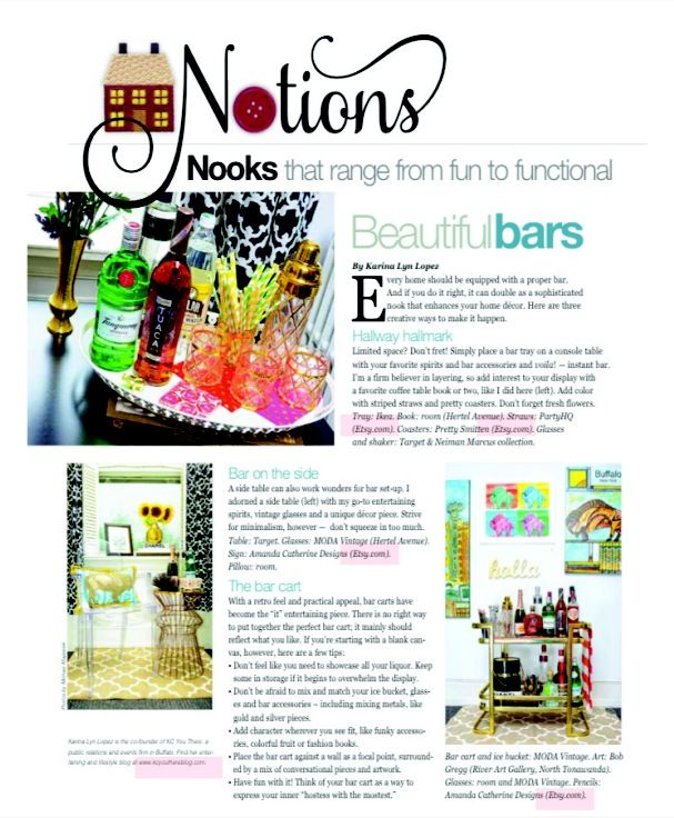 How to style a bar cart in Buffalo Magazine by KC You There